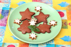 Christmas cookies. Some christmas cookies with chocolate stock image