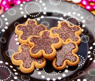 Christmas cookies. Some christmas cookies with chocolate and sprinkles stock image