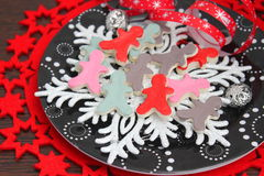 Christmas cookies. Some christmas cookies with chocolate and sugar stock images