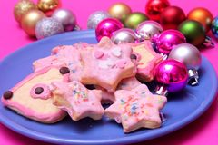 Christmas cookies. Some colourful christmas cookies on a plate stock photo