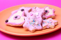 Christmas  cookies. Some colourful christmas cookies on a plate stock photos