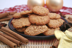 Christmas cookies. Some fresh christmas cookies on a plate royalty free stock photography