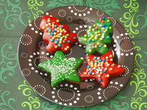 Christmas cookies. Some christmas cookies with sprinkles stock photo