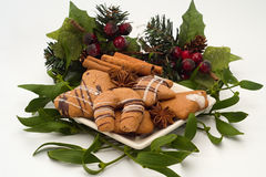 Christmas cookies and spice Stock Photos