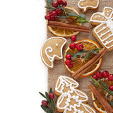 Christmas cookies and spices Stock Images