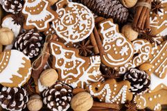 Christmas cookies with spices. Cones and nuts Stock Image