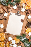 Christmas cookies spices. Holidays food. Paper recipe text. Christmas cookies and spices. Holidays food. Paper for recipe text Stock Photo