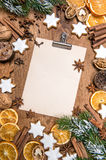 Christmas cookies and spices. Holidays food. Recipe book. Paper sheet Royalty Free Stock Photos