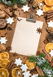 Christmas cookies and spices. Holidays food. Recipe book. Paper sheet Stock Image