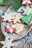 Christmas cookies sprinkled with powdered sugar. Royalty Free Stock Photo