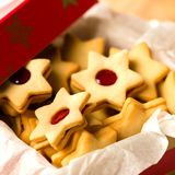 Christmas cookies star in red decoration box Royalty Free Stock Photos