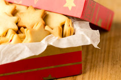 Christmas cookies star in red decoration box Stock Image