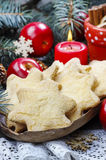Christmas cookies in star shape, red apples and green fir Stock Photography