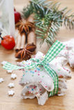 Christmas cookies in star shape on wooden table Royalty Free Stock Photos