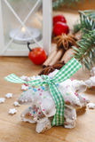 Christmas cookies in star shape on wooden table Royalty Free Stock Photo