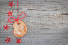 Christmas cookies and star on the tape. Royalty Free Stock Photography