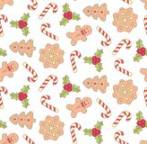 Christmas cookies sweets doodle icons seamless vector pattern. Christmas new year cookies colorful sweets doodle icons seamless vector pattern Royalty Free Stock Image