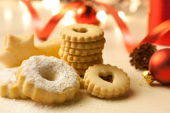 Christmas Cookies on Table. With some Christmas decorations Royalty Free Stock Photography