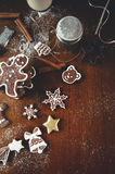 Christmas cookies on a table. Christmas cookies on a dark table Royalty Free Stock Images