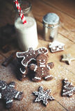 Christmas cookies on a table. Christmas cookies on a dark table Royalty Free Stock Photo