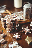 Christmas cookies on a table. Christmas cookies on a dark table Royalty Free Stock Photography