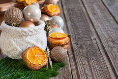 Christmas cookies with tangerine background Stock Photos