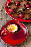 Christmas cookies and tea cup Royalty Free Stock Image