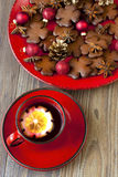 Christmas cookies and tea cup Royalty Free Stock Photography