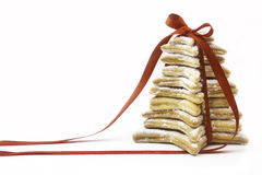 Christmas cookies tied by red ribbon Stock Photo
