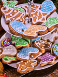 Christmas cookies on Tiered Cookie Stand. Stock Images