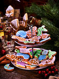 Christmas cookies on Tiered, Cookie, Stand. Royalty Free Stock Photo