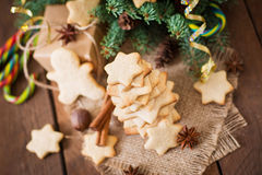 Christmas cookies and tinsel Royalty Free Stock Images