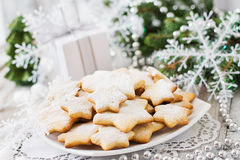 Christmas cookies and tinsel Stock Photos