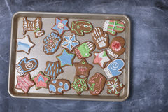 Christmas Cookies. A tray full of freshly baked gingerbread Christmas cookies Royalty Free Stock Photography