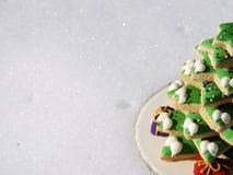 Christmas cookies tree on snow Stock Photos