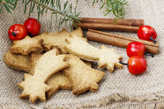 Christmas cookies under fir branch. Royalty Free Stock Photo