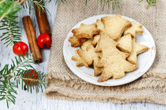 Christmas cookies under fir branch. Stock Photography
