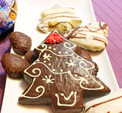 Christmas cookies and walnuts. Royalty Free Stock Photo
