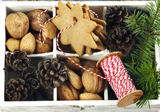 Christmas cookies, walnuts, nuts and pine cones in wooden box. Royalty Free Stock Photos