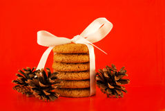 Christmas cookies with white ribbon Royalty Free Stock Images