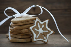 Christmas Cookies with white Ribbon Royalty Free Stock Photos