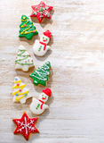 Christmas cookies on white wooden background. stock images