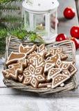 Christmas cookies in wicker basket Stock Photo