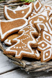 Christmas cookies in wicker basket Stock Photos