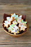 Christmas cookies  in a wicker basket Royalty Free Stock Photos