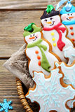 Christmas cookies in a wicker basket Stock Photos