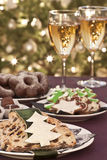 Christmas cookies with wine. Christmas cookies, catering table at christmastime Royalty Free Stock Photo