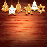 Christmas cookies on wood background Stock Images