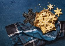 Christmas cookies. On a wooden background stock image