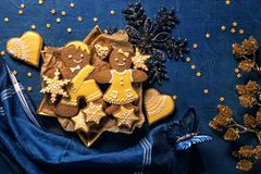 Christmas cookies. On a wooden background royalty free stock images